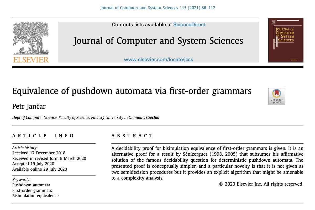 Renomovaný časopis zveřejnil práci člena katedry informatiky Petra Jančara