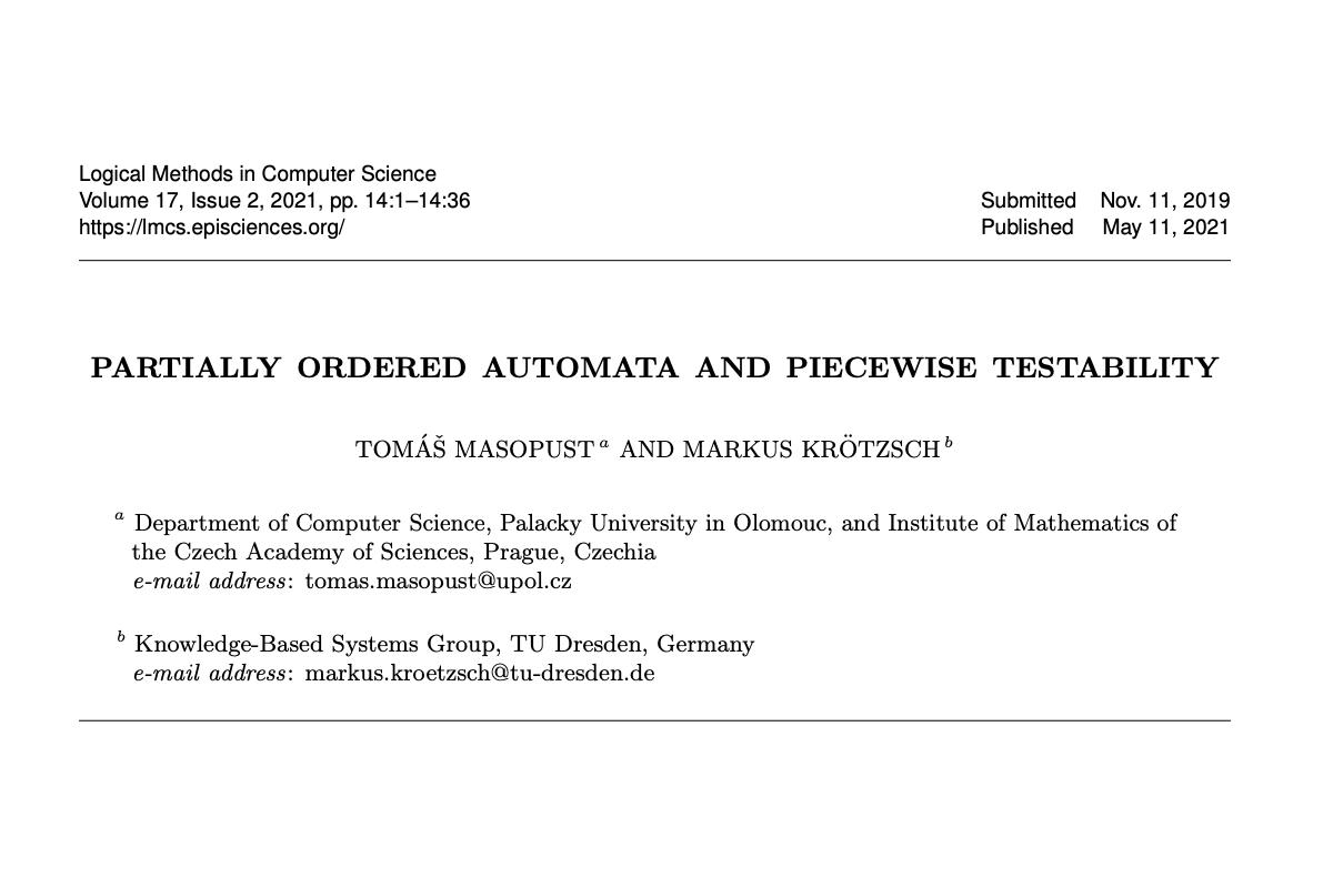 Renomovaný časopis Logical Methods in Computer Science publikoval práci člena katedry informatiky